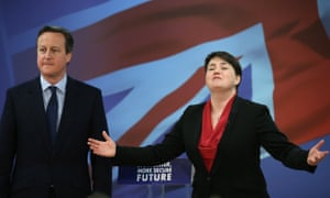 David Cameron and Ruth Davidson launch the Conservative election manifesto in Glasgow in April 2015.