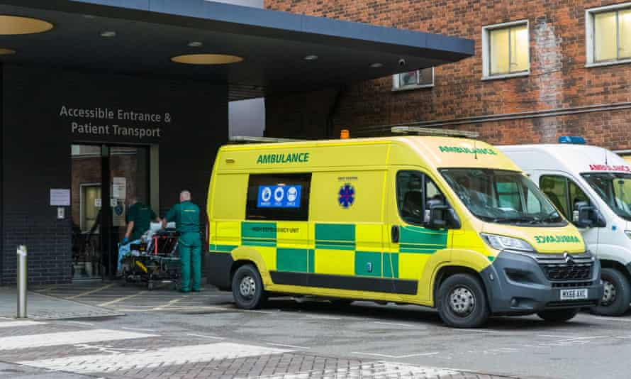 Ambulances are parked outside Guy's Hospital in London