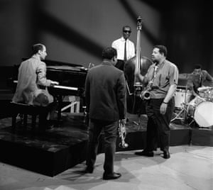 On target … Cannonball Adderley in 1964 with his quintet, featuring Joe Zawinul on piano.