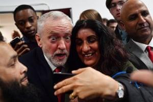 jeremy corbyn takes a selfie