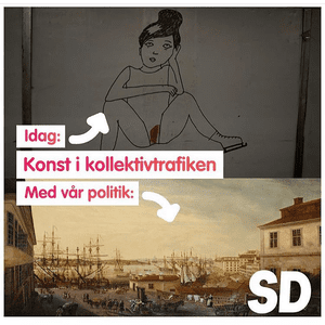 """Screengrab of a meme apparently made by the Sweden Democrats. The central caption reads: """"Art in public transport"""", and points to Strömquist's picture saying """"Today"""" and to a painting of a harbour scene saying """"With our politics""""."""