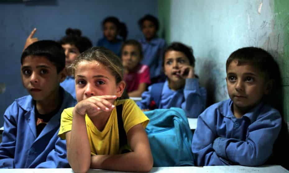 Syrian refugee students in their classroom at a Lebanese school.