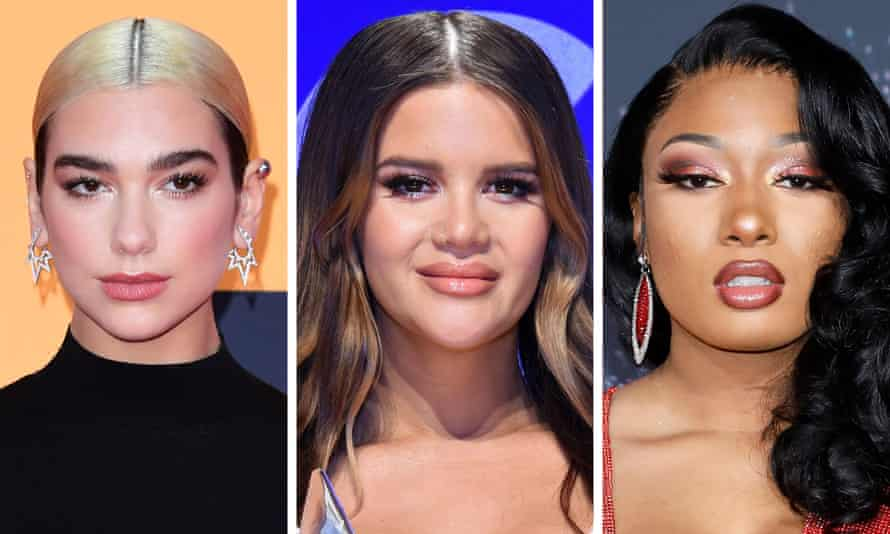 'It is International Women's Day everywhere, except for women in music, where women's voices remain muted' ... (L-R) Dua Lipa, Maren Morris and Megan Thee Stallion.