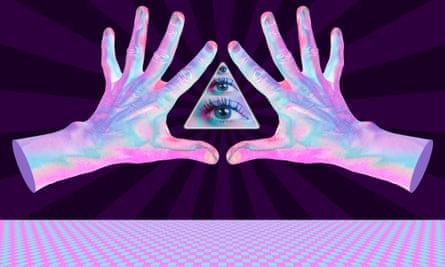 Hands, eye, new age illustration