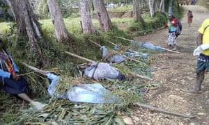 The bodies of victims of sorcery murders in Karida, in PNG's highlands, in 2019. 10 women, six children and two unborn babies were killed.