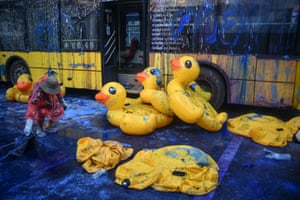 """Footage of Thailand's so-called """"rubber duck revolution"""" has gone viral on social media"""
