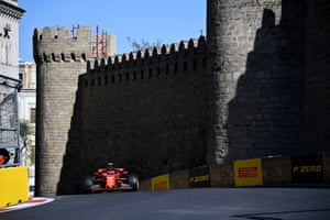 Leclerc, chasing hard.