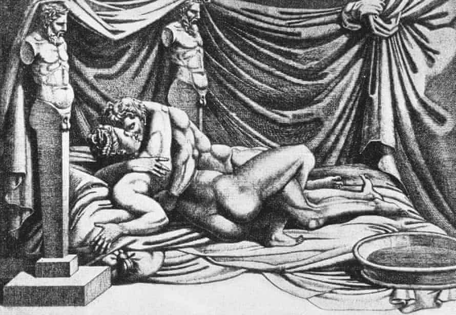 The 16 Pleasures, a lost print by Marcantonio Raimondi, from 1524