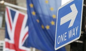 British and EU flags and 'one way' road sign