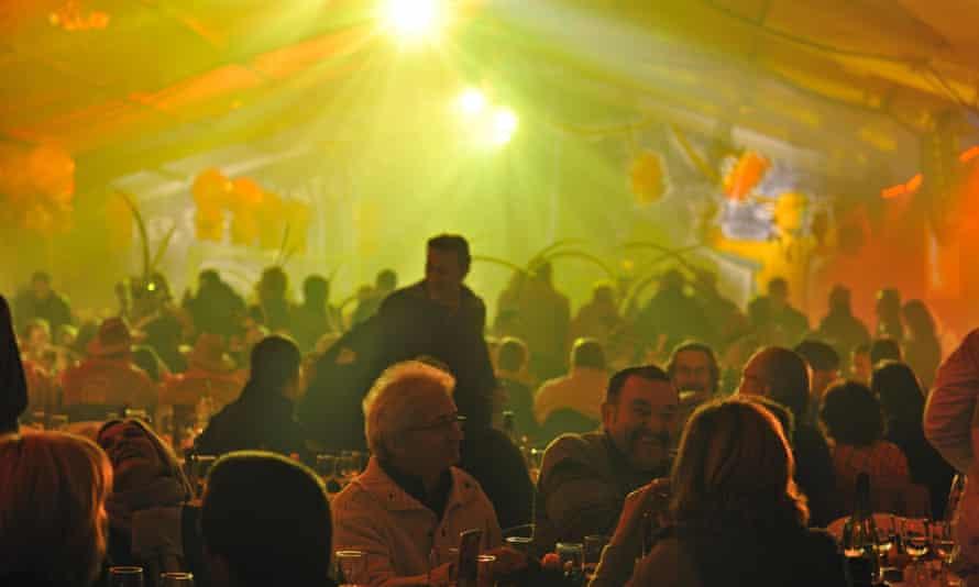 A party at the Beaujolais Nouveau wine festival, Beaujeu.