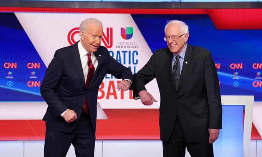 Democratic presidential candidates Senator Bernie Sanders and former Vice President Joe Biden at the 11th Democratic candidates debate in Washington DC.