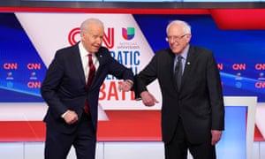 Bernie Sanders and Joe Biden at the 11th Democratic debate.