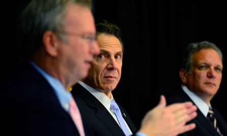 Eric Schmidt, Google's former executive chair, left, with the New York governor Andrew Cuomo.