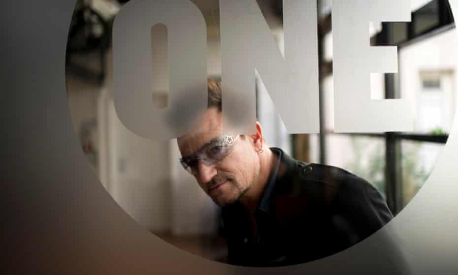 Bono, frontman of rock band U2, during a meeting at the One's headquarters in Paris.