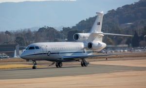 A RAAF Falcon 7x VIP aircraft. Michael McCormack flew with his wife to Melbourne on board a RAAF private jet, re-announced a funding promise made three years earlier and then spent the day at the Melbourne Cup
