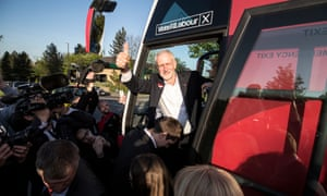 09/05/2017 Morely Leeds .Jeremy Corbyn leader of the Labour party arrives on the campaign bus at to meet surpporters . Photo SEAN SMITH