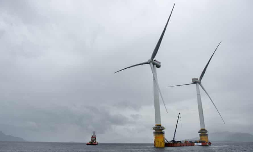 Turbines being assembled in Norway before being moved to the world's first floating wind farm off north-east Scotland.
