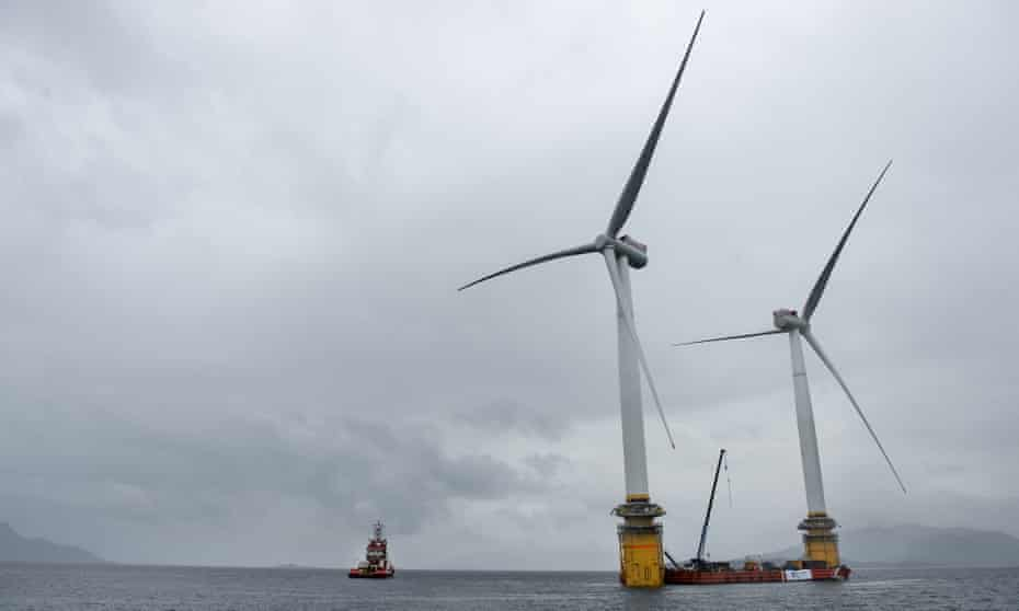 Turbines being assembled offshore in Norway before being moved to the world's first offshore floating wind farm off the coast of Aberdeenshire.