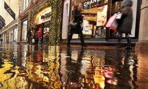 Shoppers on a rainy street
