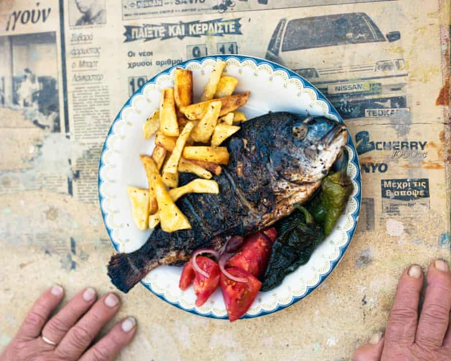 Yiayia's marinated sea bream, served with rosemary chips.