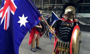 Protesters dressed in costume and carrying Australian flags attend a Reclaim Australia protest in Sydney on 19 July.