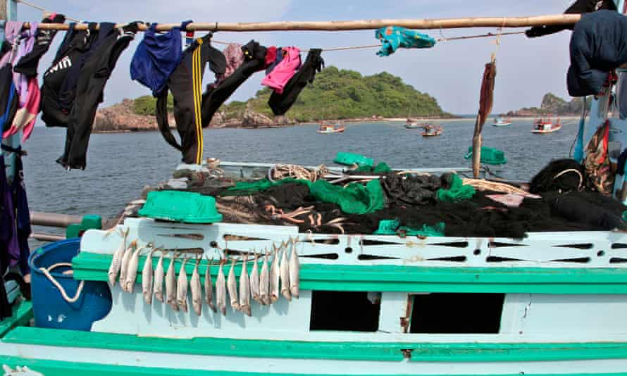 Fish drying on a boat in the port of Bang Saphan, Thailand.