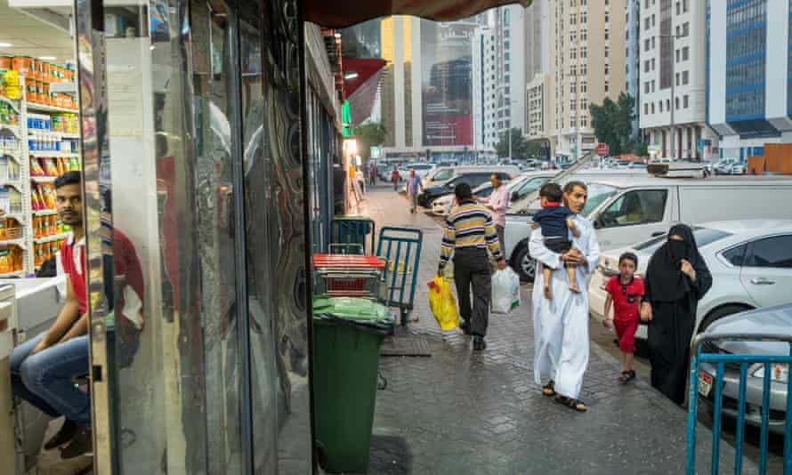 Outside a shop in the Hamdan Street area