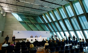 ECB President Draghi and Vice President Constancio address today's news conference at the ECB headquarters in Frankfurt.