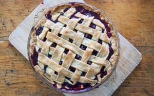 Home made blueberry pie with woven lattice crust.