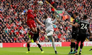 Joël Matip misses a chance as Liverpool struggled to break Crystal Palace down.