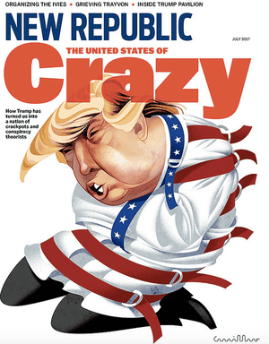 "André Carrilho for The New Republic""The New Republic asked me to draw Trump in a straitjacket; my contribution was the way in which it's graphically presented, with Trump on his knees and breathing heavily, flustered. When the satire writes itself, it's not hard to understand why it becomes a more valuable tool to fight abuse. It was the same with Mussolini and Berlusconi, each a more ridiculous persona than the other. In this environment, images that are quickly understood and convey an opinion that can be easily appropriated and shared are a valuable commodity."""