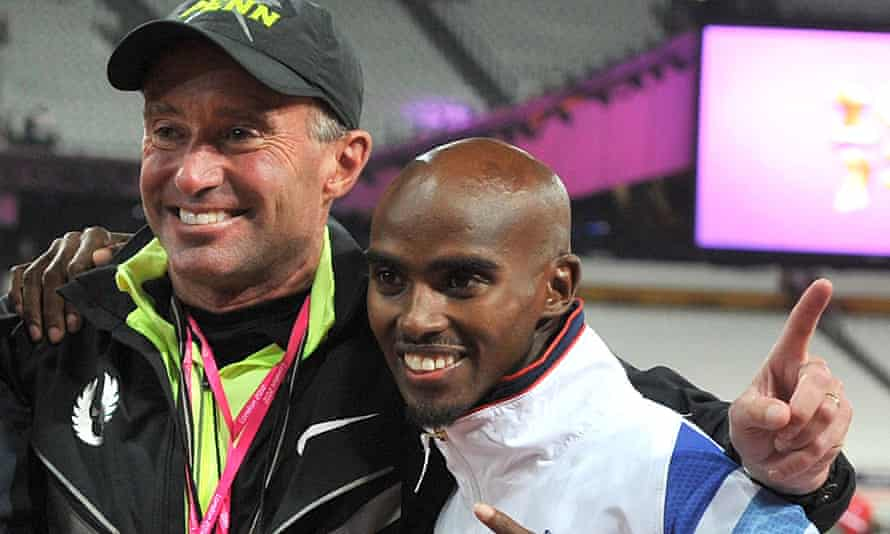 Mo Farah celebrating winning the 10,000m final with coach Alberto Salazar in 2015.