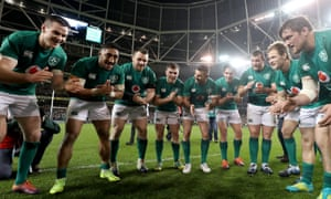 Ireland's players enjoy the celebrations after their historic first home victory over the All Blacks.