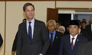 The Dutch prime minister, Mark Rutte, left, during a visit to Indonesia's parliament in Jakarta.