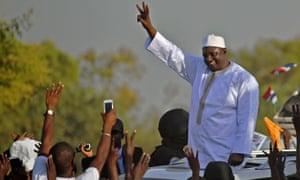 Adama Barrow celebrating his victory over Yahya Jammeh in 2017.