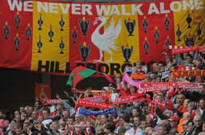 Liverpool fans gather at Anfield for memorial service to mark the 20th anniversary of the Hillsborough disaster.