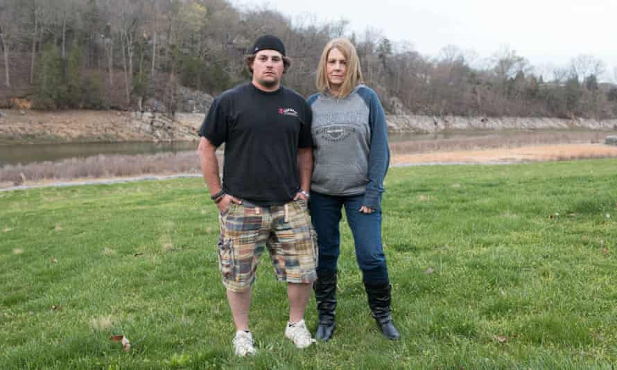 Matt Miller, who is now clean, with his mother Jennifer.