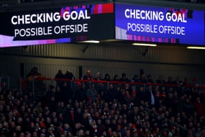 The screen inside the stadium shows that a VAR check is taking place. The result is no goal.