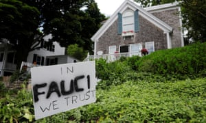 A lawn sign supporting Dr Fauci outside a home in Rockport, Massachusetts