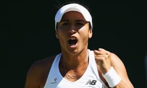 Heather Watson reacts in her Ladies Singles first round match against Caroline Garcia.
