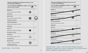 A page from the Electoral Commission's guide, dealing with doubtful ballot papers, showing two ballots that would be accepted as a legitimate vote.