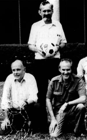 Richard Smalley, Robert Curl (with football) and Harry Kroto