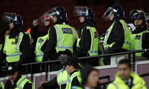 Police in the crowd at the EFL Cup tie between West Ham United and Chelsea at the London Stadium.