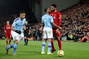 Gomez and Sterling exchange words.