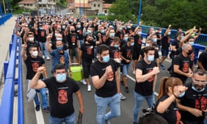Nissan workers protest the closure of the Japanese carmaker's three factories in Catalonia. A local outbreak this morning saw 200,000 residents in the region put back into lockdown.