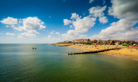 View of beach from Pier at Southwold in Suffolk