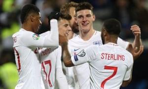 England's Mason Mount celebrates scoring.