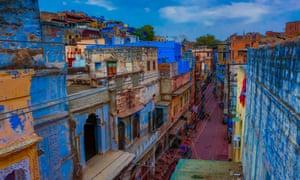 Blue rooftops in Jodhpur, Rajasthan, India.