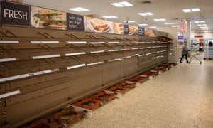 The bad old days ... empty supermarket shelves back in March. Photograph: Oli Scarff/AFP via Getty Images