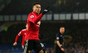 Jesse Lingard of Manchester United celebrates after he scored to make 0-2.